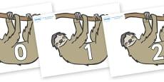 Numbers 0-31 on Sloths