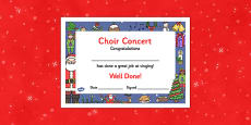 Christmas Themed Choir Singing Concert Certificates
