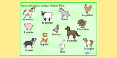 Farm Animals Word Mat Italian