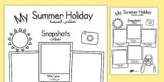 Summer Holiday Snapshots Writing Frame Arabic Translation