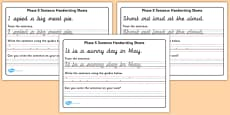 Phase 5 Sentence Handwriting Sheets