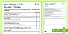 * NEW * Separation Techniques Student Revision Checklist