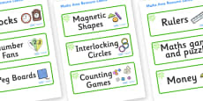Green Themed Editable Maths Area Resource Labels