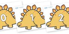 Numbers 0-50 on Stegosaurus Dinosaurs