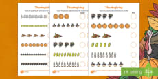 Thanksgiving Differentiated Counting Activity Sheet