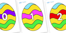 Numbers 0-50 on Easter Eggs (Striped)