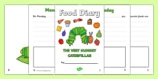 5 Day Food Diary Writing Frame to Support Teaching on The Very Hungry Caterpillar