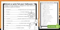 Halloween Present Tense Gap Fill Activity Sheet