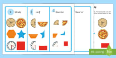 Workstation Pack: Quarter, Half and Whole Picture Sorting Activity