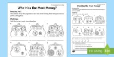 * NEW * Who Has the Most Money? Activity Sheet