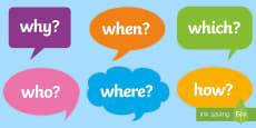 Question Words on Speech Bubbles