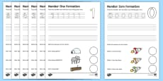 Number Formation Activity Sheets (0-9)
