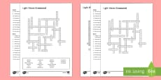 KS3 Light Waves Crossword