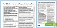 Year 3 Maths Assessment Targets Colouring Sheet