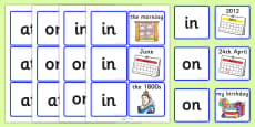 Time Prepositions Matching Cards