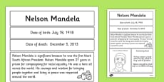 Nelson Mandela Significant Individual Fact Sheet