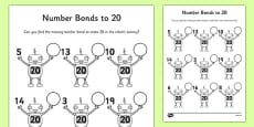Number Bonds to 20 on Robots Activity Sheet