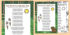 Here We Go on a Big Bear Hunt Song to Support Teaching on Bear Hunt