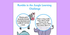 Home Learning Challenge Sheet to Support Teaching on Rumble in the Jungle Nursery FS1