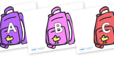 A-Z Alphabet on Backpacks