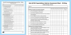 End of KS1 Expectations Tracking Sheet - Writing (Child Friendly Version)