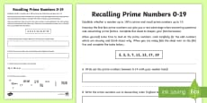 * NEW * Recalling Prime Numbers 0-19 Activity Sheet