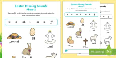 Easter Phase 2 Missing Sounds Activity Sheet