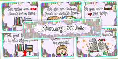 Library Rules Display Poster Pack