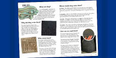 The Ancient Egyptians Hieroglyphs Information Print Out
