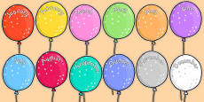 Editable Month Balloons