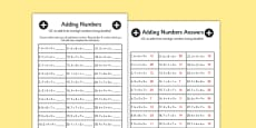 Adding Three One Digit Numbers Lesson 2 Using Doubles Activity Sheet