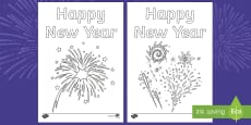 Happy New Year Fireworks Colouring Pages