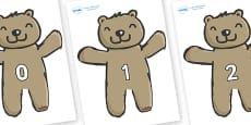 Numbers 0-50 on Teddy Bears