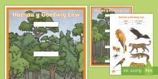 * NEWYDD * Taflen Weithgaredd Torri a Gludo Haenau Y Goedwig Law