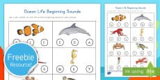 Ocean Life Beginning Sounds Activity Sheet