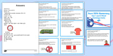Euro 2016 Wales Numeracy Year 1 and 2 Mixed Challenge Cards