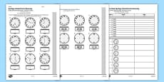 KS2 Reasoning Test Read Write and Convert Time Between Analogue and Digital 12 Hour Clocks Arabic Translation