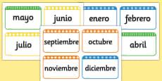 Tarjetas de vocabulario - Los meses del año