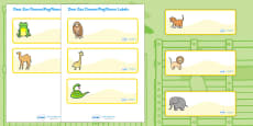Drawer-Peg-Name Labels to Support Teaching on Dear Zoo