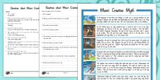 Maori Creation Myth Differentiated Reading Comprehension Activity