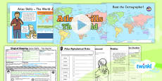PlanIt - Geography Year 2 - Magical Mapping Lesson 4: Atlas Skills The World Lesson Pack