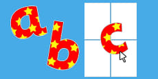 Editable Red with Yellow Stars Paper Saving Display Alphabet Numbers and Symbols Lowercase