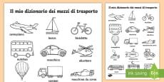 Il Vocabolario dei Mezzi di Trasporto Fogli da colorare