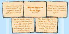 Amazing Stone Age to the Iron Age Display Fact Cards