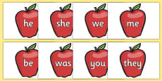 Phase 3 Tricky Words on Red Apples