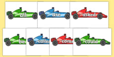 Tricky Words on Racing Cars