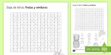 Fruit and Vegetables Word Search Spanish