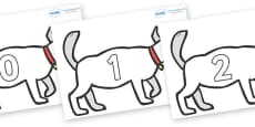 Numbers 0-50 on White Dog to Support Teaching on Brown Bear, Brown Bear
