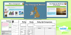 PlanIt - Geography Year 3 - The UK Lesson 6: Our Changing Nation Lesson Pack