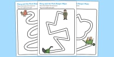Pencil Control Path Activity Sheets to Support Teaching on Percy the Park Keeper